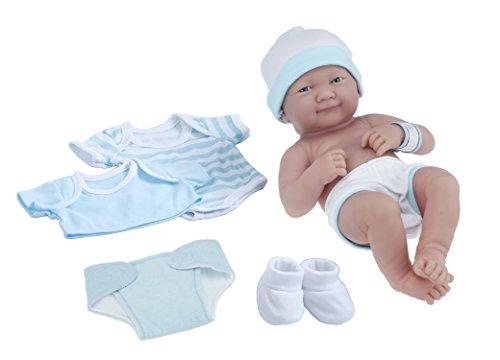 La Newborn Nursery 8 Piece Layette Baby Doll Gift Set featuring 14 Life-Like Smiling Newborn Doll Blue
