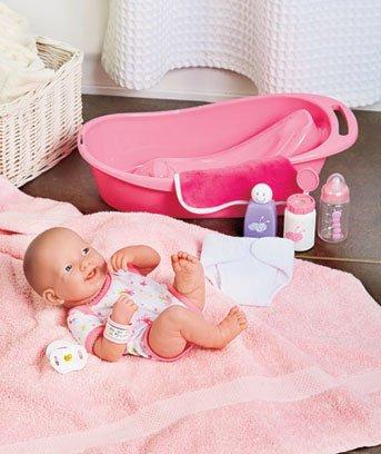 Lifelike 14 Washable Newborn Baby Doll with Tub Bath Set Romper and Layette