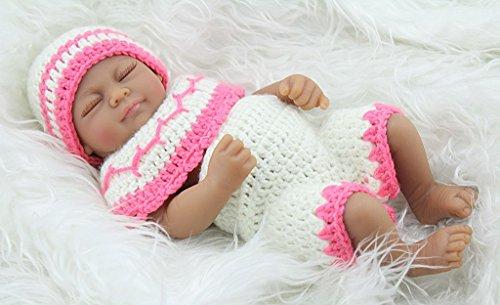 Terabithia Mini 11 Black Cute Truly Newborn African American Baby Dolls Silicone Full Body Washable for Girl
