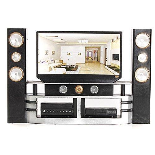 KINGSO Hi-Fi TV Cabinet Set Combo for Blythe Barbie Dolls House Dollhouse Furniture