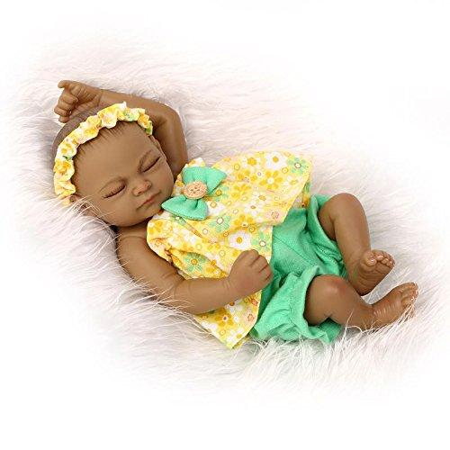 DreamRunner 11 Mini Black Doll Reborn baby dolls silicone full body girl Waterproof Lifelike Doll for Kids