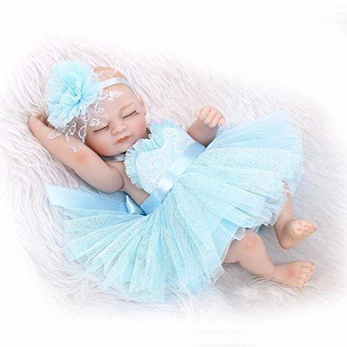 Nicery Reborn Baby Doll Hard Simulation Silicone Vinyl 10inch 26cm Waterproof Bathe Toy Gift Blue Dress Girl Eyes Close