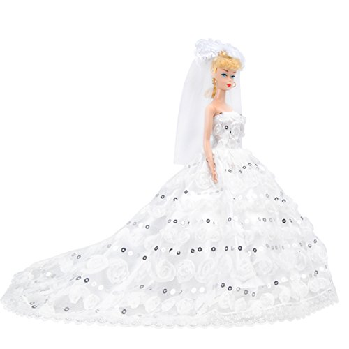 E-TING Handmade Clothing 1 pcs Fashion Doll Clothes Sequins Long Tail Party Gown Dresses with Lace Doll Veil Xmas Dress for Barbie Fashionista Dolls