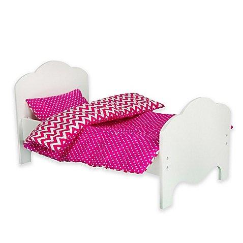 Teamson Kids Little Princess 18 Doll Bed Bedding Set in Modern Chevron
