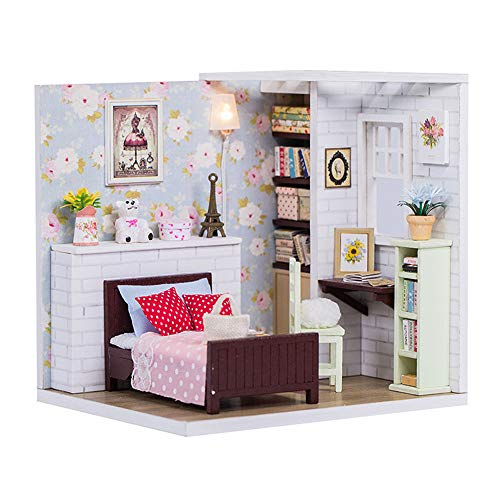 ROBOX Miniature Dollhouse Building Materials Craft Kits for Adults Cute 124 Dollhouse DIY Mini Dollhouse DIY Kit Mini House Building Little DIY Doll House Cute Pink Floral Girls Bedroom Model Kit