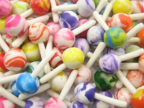 Dollhouse Miniature Food Lot 50 Mixed Color Lollipop Candy WHOLESALE Supply Charms 6325