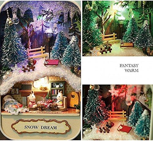 Boldclash Dollhouse Mini DIY Snow Dream Box Theatre Miniature House with Controllable LED Lights