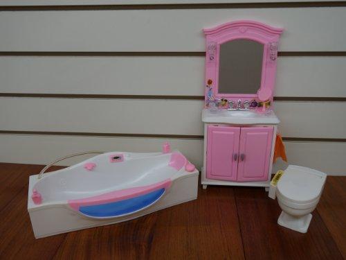 Barbie Size Dollhouse Furniture- Bath Room with Bath Tub by gloria