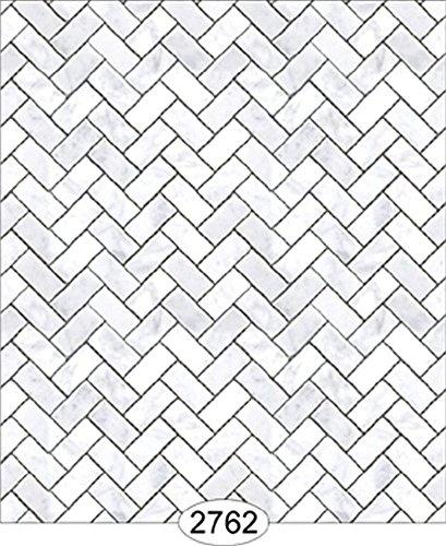 Dollhouse Wallpaper 112 Carrara Marble Herringbone Tile White Small