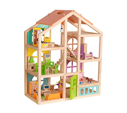 Abigail Dollhouse with 40 pcs furniture set 4 Dolls and Pet dog - Wooden Doll house