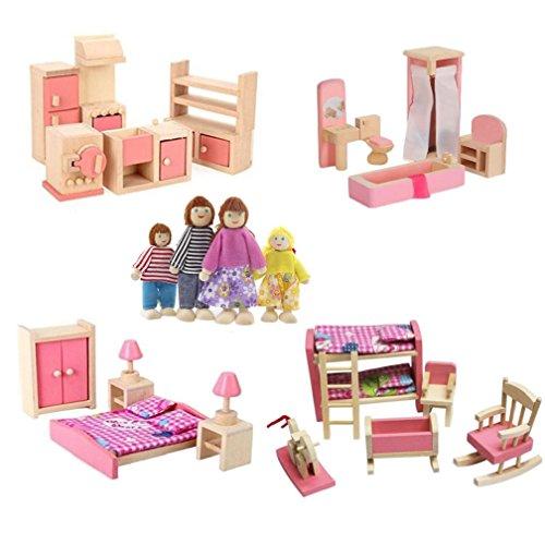 Kunhe 4 Set Wooden Dollhouse Furniture Including KitchenBathroom Bedroom Kids Room for Dollhouse Pink Color with 4 Dolls