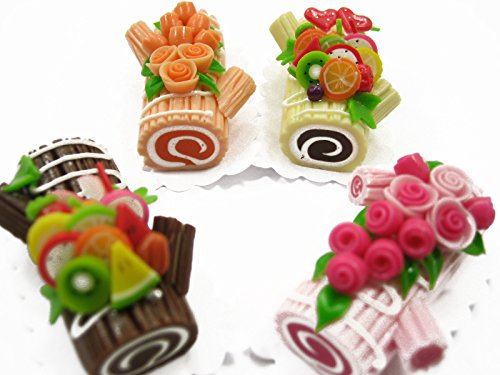 4 Mixed Color Log Roll Cakes Flower Fruit DollsHouse Miniature Food Barbie 13322
