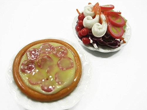 DollsHouse Miniatures Food Set Of Pizza Pan And Salad On Plate Supply FA00 10517
