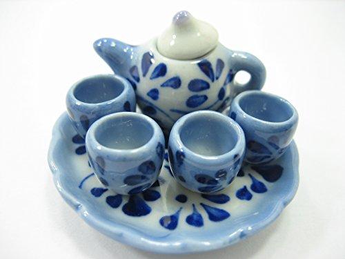 Dollshouse Miniature Ceramic Blue Flower Paint Tea Cup Set Tea Pot Supply 13248