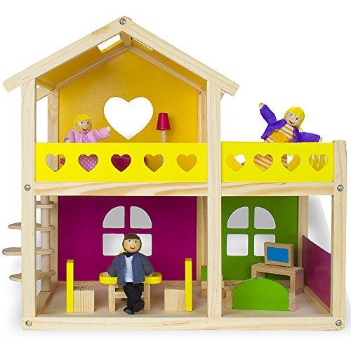 14pc Deluxe Wooden Cozy Cottage Dollhouse - Includes Bonus Pop Toob