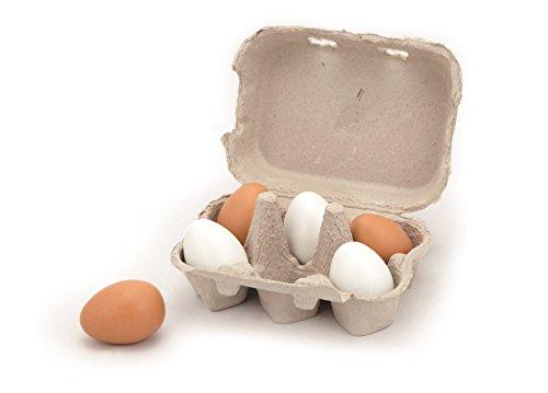 6 pcs Wooden Eggs - Pretend Children Play Kitchen Game Food