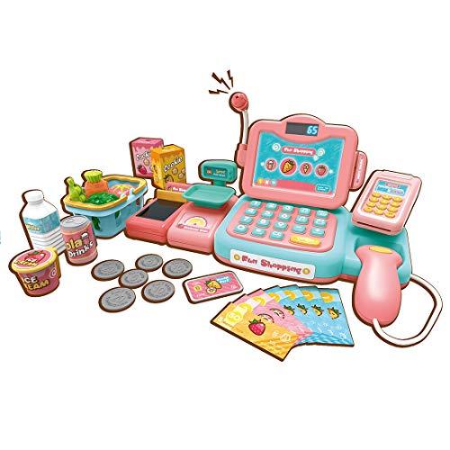 HMANE 24Pcs Children Pretend Play Toys Cash Register Supermarket Checkout Toy with Smart Automatic Speech Recognition for Kids - Pink