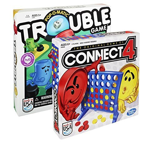 Maven Gifts Hasbro Classic Board Game 2-Pack - Connect 4 Game with Trouble Game - Fun for the Whole Family - Ages 5