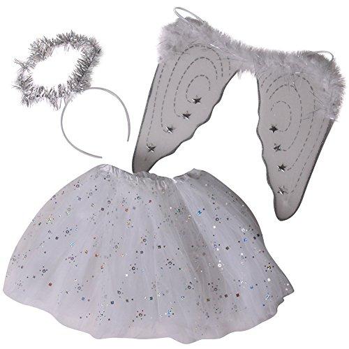 Girls Angel Costume Set - White Tutu Angel Wings and Halo Headband Tutu 10 Short Silver  Sparkle White