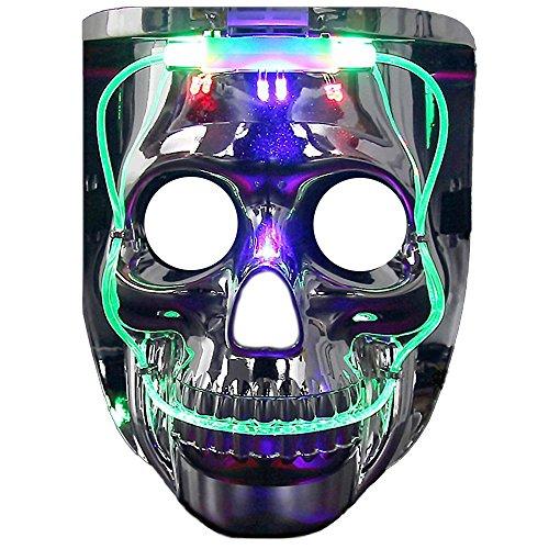 Light up Mask DAXIN DX LED Halloween Scary Mask US FlagSkeleton Costume for Men Women KidsLED Jason MaskMedium