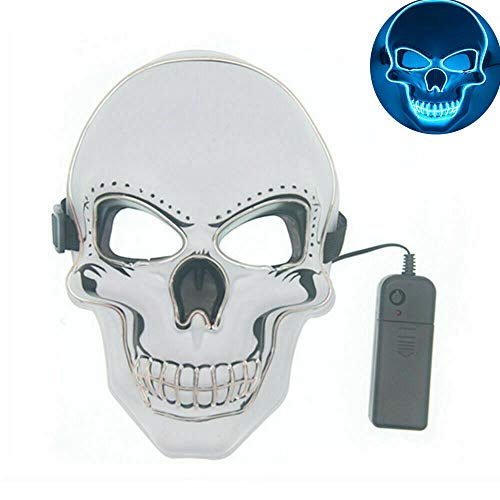 Tagital Halloween Mask LED Light Up Scary Skull Mask Costume Cosplay EL Wire Halloween Party Ice Blue