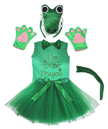 Petitebella 3D I m Little Green Dragon Headband Glove Tutu Shirt 6p Girl Costume 3-4 Years