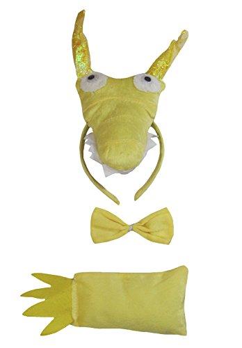 Petitebella Gold Dragon Headband Bowtie Tail 3pc Costume for Children One Size