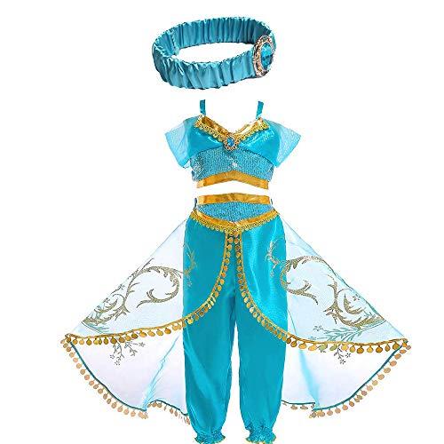 Aladdin Jasmine Costume for Girls Kids Arabian Princess Costume Dress Cosplay Outfit with Wig or Headband