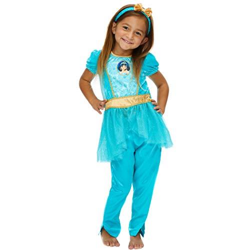 Disney Princess Jasmine Toddler Girls Peplum Costume Top Leggings Headband Set Blue 2T
