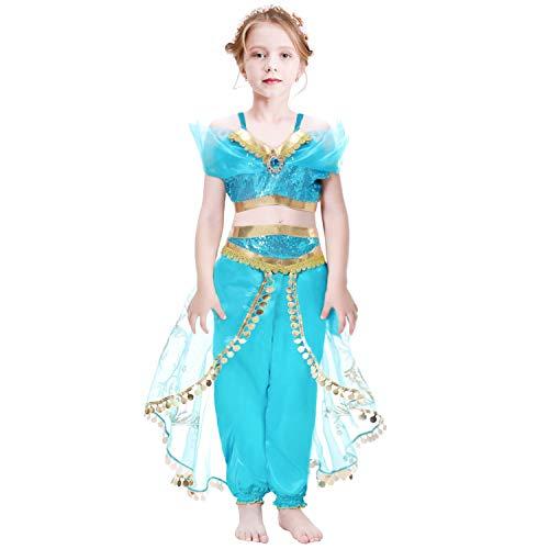 Girls Aladdin Costume Princess Jasmine Fancy Dress up Kids Cosplay Outfit 3-8Y Teal Blue
