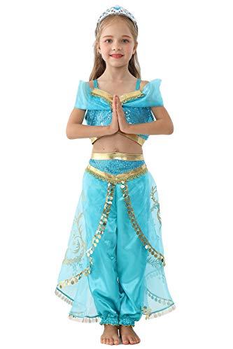 HIHCBF Girls Halloween Aladdin Jasmine Costume Arabian Princess Fancy Dress up Cosplay Party Outfits Kids Belly Dancewear 2-3T