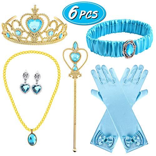 Latocos 6 PCS Jasmine Costume Accessories with Jasmine Headband Crown Necklace Earrings Gloves Aladdin Halloween Dress Up Girls Princess for Kids