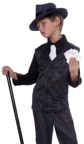 Kids Pinstripe Gangster Outfit Boys Halloween Costume M Medium 8-10