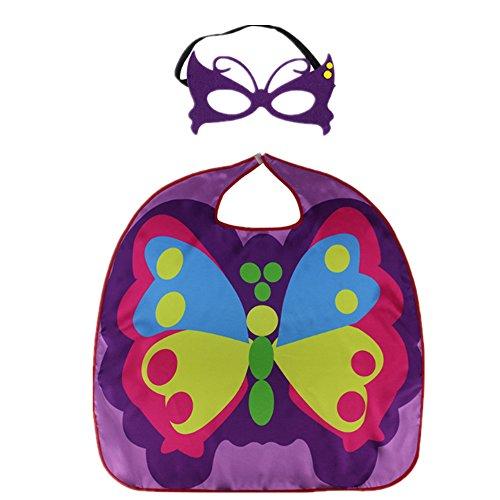 Starkma Butterfly Costume Satin Cape with Felt Mask Purple
