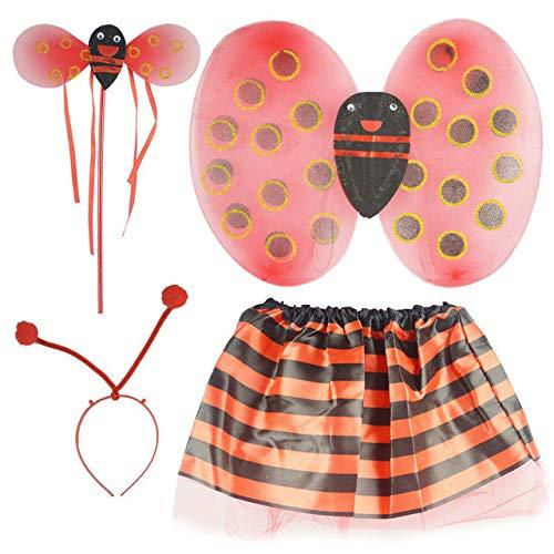 Astra Gourmet 4 Pieces Kids Ladybug Costume Set - Bee Wing Fairy Wand Tutu Skirt Headband Fancy Dress Up Party Costume for Girls Ladybug Party Dress Up Play