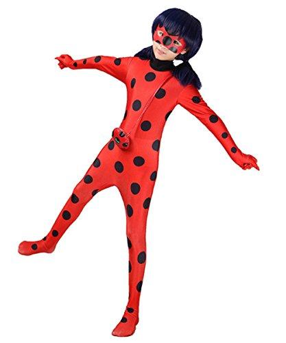 Danlier Halloween Costume Girls Ladybug Kids Zentai Dress Up Jumpsuit Lycra BodysuitM