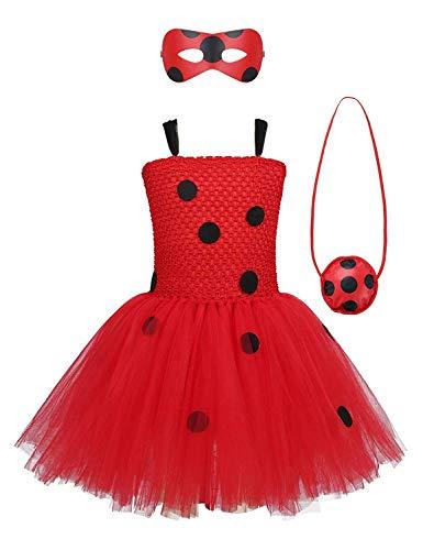 MYRISAM Girls Ladybug Costume Tutu Dress Kids Halloween Carnival Cosplay Fancy Dress Up Outfits wEye Mask Yo-Yo Bag 7-8T Red