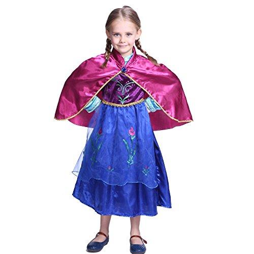 girls anna frozen princess dress halloween costume ages 4 5 cape
