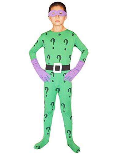 Boys Batman Cosplay Halloween Kids Riddler Costume Lycra Bodysuit Large Green