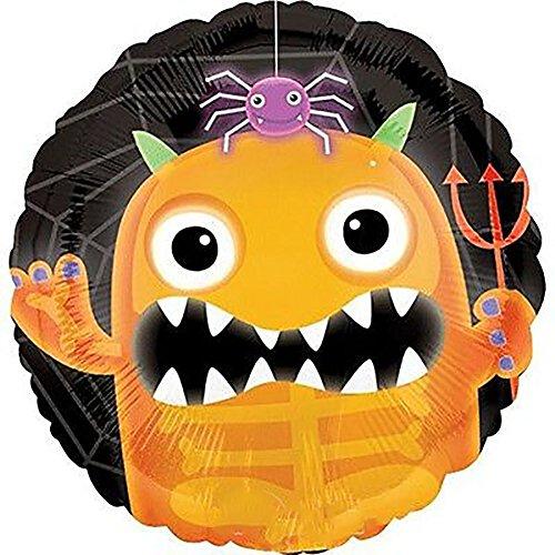 Custom Fun Cool Big Large Size 18 Inch 1 Unit of Helium Air Inflatable Mylar Foil Balloon w Cute Monster Demon Spider Happy Halloween Kids Design in Orange Black Purple Green