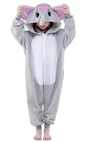 Newcosplay Unisex Children Elephant Pyjamas Halloween Kids Onesie Costume 125 Grey Elephant