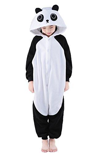 Newcosplay Unisex Children Panda Pyjamas Halloween Kids Onesie Costume 105 Panda
