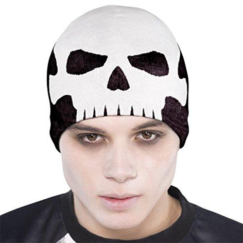 Adults Halloween Black White Fabric Fancy Dress Party Knit Skull Hat Cap