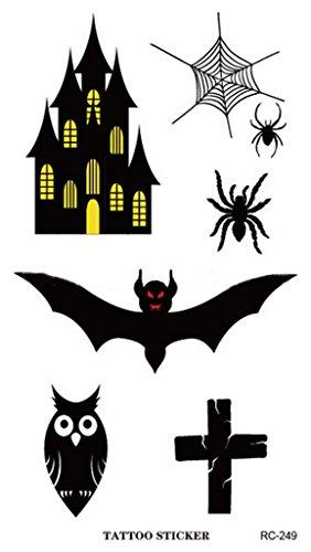 Bigood 5pcs Adult Halloween Accessory Bloody Wound Scar Tattoos 10560mm Bat