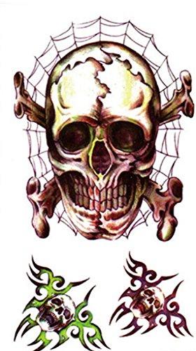 Bigood 5pcs Adult Halloween Accessory Bloody Wound Scar Tattoos 10560mm Skull