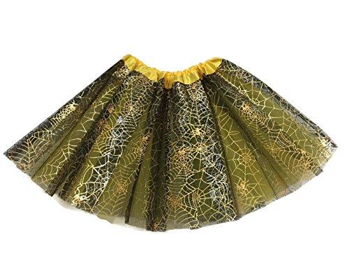 Rush Dance Ballerina Recital Halloween Yellow Black Spider Webs Costume Tutu
