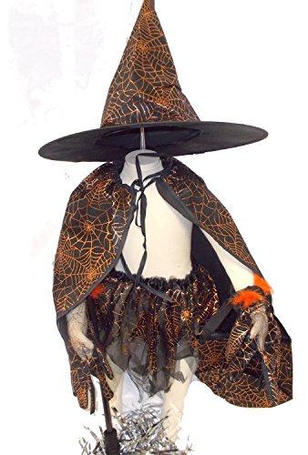 Witch Orange Spiderweb Costume Dress Girls NIP 3-5