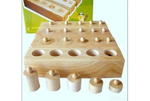 MONTESSORI Sensorial Wooden toy cylinder socket baby teaching toy math Set