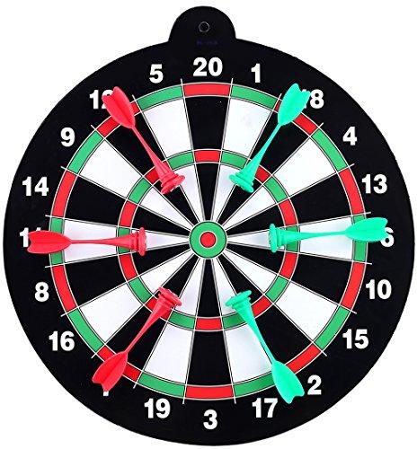 11 Kids Magnet Dart Board with 6pcs Soft Tips Dart Flights for Family Board Games 29CMBL-6101 Black