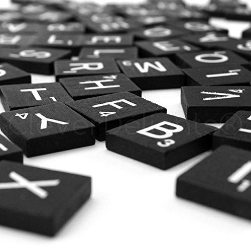 100 Wood Scrabble Tiles - Black Color - Complete Set - Game Replacement Crafts Weddings Scrapbooking